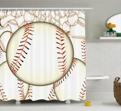 Beyzbol Topu Desenli Duş Perdesi Krem Spor Oyun