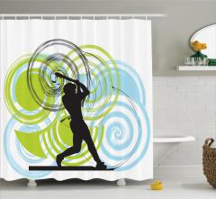 Beyzbolcu Desenli Duş Perdesi Mavi Yeşil Siyah Beyaz