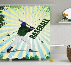 Beyzbolcu Desenli Duş Perdesi Yeşil Sarı Oyun Spor