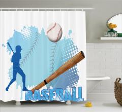 Beyzbol Temalı Duş Perdesi Beyzbolcu Mavi Lacivert