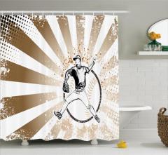 Beyzbolcu Desenli Duş Perdesi Kahverengi Beyaz