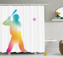 Rengarenk Beyzbolcu Desenli Duş Perdesi Beyaz Fon