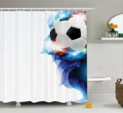 Beyaz Duş Perdesi Futbol Temalı Işıltılı Süslemeler