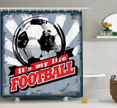 Futbol Aşkı Temalı Duş Perdesi Nostaljik Poster Mavi