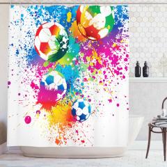 Futbol Temalı Duş Perdesi Rengarenk Şık Tasarım
