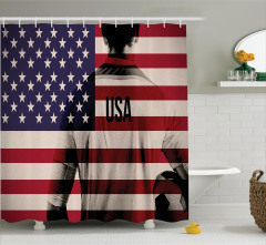 Amerikan Bayrağı Baskılı Duş Perdesi Futbol Temalı