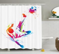 Futbol Aşkı Temalı Duş Perdesi Rengarenk Şık Tasarım