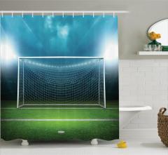 Futbol Sahası Temalı Duş Perdesi Yeşil Saha