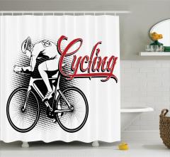 Sporseverler için Duş Perdesi Bisiklet Siyah Kırmızı