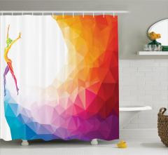 Rengarenk Duş Perdesi Spor Jimnastik Modern Sanat