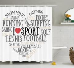 Sporseverler için Duş Perdesi Beyaz Koşu Futbol