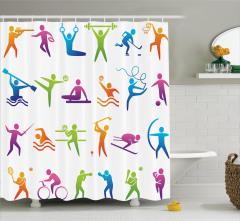 Sporseverler için Duş Perdesi Rengarenk Spor Türleri