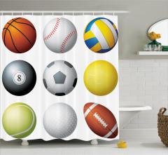 Sporseverler için Duş Perdesi Futbol Basketbol Top