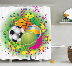 Rengarenk Duş Perdesi Futbol Basketbol Voleybol Top