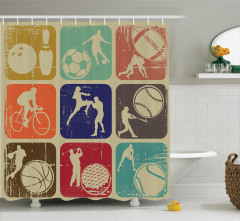 Sporseverler için Duş Perdesi Nostaljik Logolar