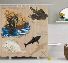 Korsan Temalı Duş Perdesi Kahverengi Deniz Yaşamı