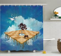 Gökyüzü Bahçesi Temalı Duş Perdesi Ağaç At Bulut