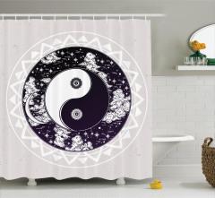 Yin ve Yang Temalı Duş Perdesi Siyah Beyaz Yıldız