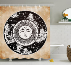 Güneş ve Ay Desenli Duş Perdesi Siyah Beyaz Mistik