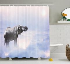 Fil Desenli Duş Perdesi Mavi Gökyüzü Bulut Güneş