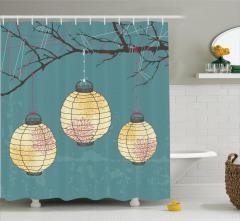 Ağaç ve Kağıt Fener Desenli Duş Perdesi Dekoratif