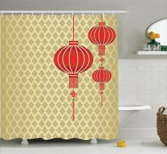 Duvar Kağıdı ve Fener Desenli Duş Perdesi Kırmızı