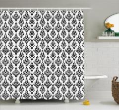 Damask Desenli Duş Perdesi Siyah Beyaz Şık Tasarım