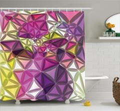 Rengarenk Geometrik Desenli Duş Perdesi Dekoratif