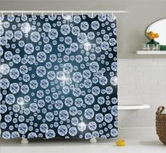 Kristal ve Gece Mavisi Desenli Duş Perdesi Dekoratif