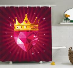 Mor Pırlanta ve Kraliçe Desenli Duş Perdesi Modern