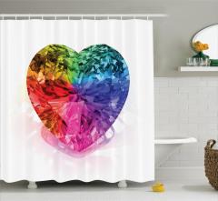 Rengarenk Pırlanta Kalp Desenli Duş Perdesi Beyaz