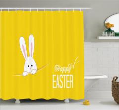 Çocuklar için Duş Perdesi Tavşancık Paskalya Sarı