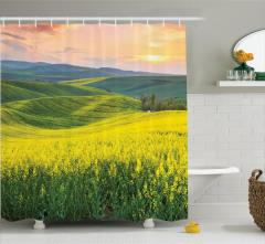 Kırlarda Bahar Temalı Duş Perdesi Sarı Çiçekler Doğa