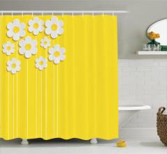 Sarı Duş Perdesi Papatya Desenleri Beyaz Bahar