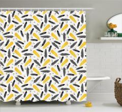 Duş Perdesi Şık Tasarım Sarı Kuş Tüyleri Desenli