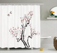 Kiraz Ağacı ve Kuş Desenli Duş Perdesi Siyah Beyaz