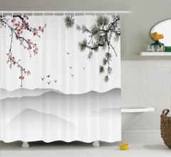 Kiraz ve Çam Ağaçları Desenli Duş Perdesi Beyaz Fon