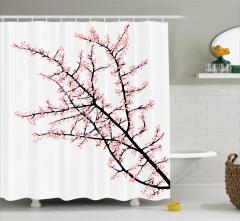 Pembe Çiçekli Ağaç Desenli Duş Perdesi Beyaz Fon