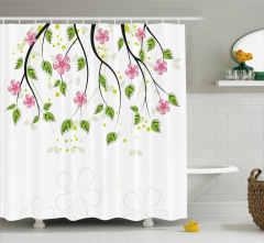 Pembe Çiçek ve Yaprak Desenli Duş Perdesi Beyaz Fon