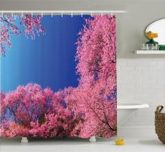 Çiçek Ağaç ve Gökyüzü Temalı Duş Perdesi Pembe Mavi