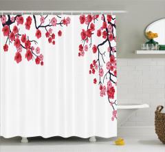 Çiçekli Ağaç Desenli Duş Perdesi Pembe ve Kırmızı
