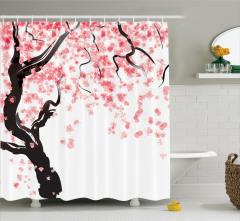 Pembe Çiçekli Ağaç Desenli Duş Perdesi Beyaz Fonlu