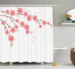 Pembe Çiçek ve Tomurcuk Desenli Duş Perdesi Beyaz