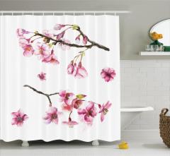 Mor Ağaç Çiçekleri Desenli Duş Perdesi Beyaz Fonlu