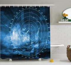 Lacivert Duş Perdesi Gemi Radarı Desenli Siyah