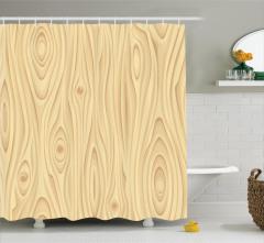 Bej Duş Perdesi Ahşap Görünümlü Şık Tasarım Trend