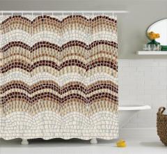 Bej Duş Perdesi Antik Mozaik Etkili Kahverengi