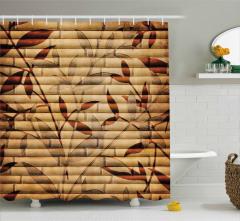 Bej Duş Perdesi Bambu Yaprakları Desenli Kahverengi