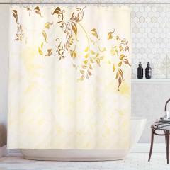 Bej Duş Perdesi Yapraklar Modern Şık Tasarım Trend