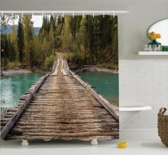 Ahşap Köprü Nehir ve Orman Temalı Duş Perdesi Yeşil